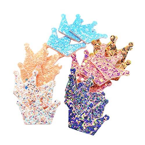 Homyl 20 Stück Gemischt Glitter Pailletten Krone Patch Aufbügler Applikationen Zum aufbügeln Applikation Patches Flicken Verschönerung DIY Handwerk