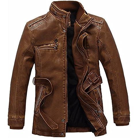 Gli uomini di qualità della pelle PU uomo giacche casual caldo cappotto di pelle,marrone,L