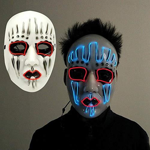 wonderfulwu Halloween-Maske mit EL-Draht, blinkend, Cosplay, LED-Licht, Maske, Kostüm, anonyme Maske, für leuchtende Tänze, Karneval, Party, Halloween, Dekoration