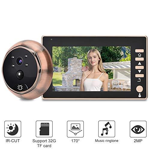 Campana de Puerta Mirilla, 4.5' HD Camara Ojo de Gato grabación de Video Timbre con IR visión Nocturna, Detección móvil para Seguridad del hogar (sin Tarjeta de Memoria)
