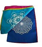 KERALA Banderines en algodón, rectangulares con símbolos de Geometría Sagrada. Tamaño 180 X 29 X 20 cm.