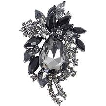 Ever Faith Vintage Style lacrima nero del fiore di cristallo Spilla A10016-16 austriaca