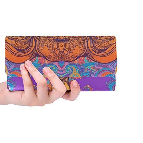 Einzigartige benutzerdefinierte schöne handgezeichnete Stammes-Stil Elefant Bunte Frauen Trifold Wallet Lange Geldbörse Kreditkarteninhaber Fall Handtasche -