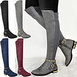fashion thirsty womens flat knee boots stretch leg over the knee thigh riding black smart casual - 51K6ga3IwML - Fashion Thirsty Womens Flat Knee Boots Stretch Leg Over The Knee Thigh Riding Black Smart Casual