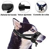 SlowTon Bozal para Perros, Lazo Ajustable, Acolchado Suave de Franela, bozales cómodos, Transpirables y Seguros de Ajuste rápido para Perros pequeños Masticar y ladrar (M, Negro)