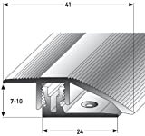 Alu Höhenausgleichsprofil, 90cm, edelstahlfarbig mit APL-Klicksystem ✓ 7-10mm ✓ Schrauben ✓ Übergangsprofil für Laminat, Parkett & Teppich | Übergangsleiste, Bodenprofil für Fußböden | Übergangsschiene, Anpassungsprofil, Türschiene mit stufenlosem Ausgleich