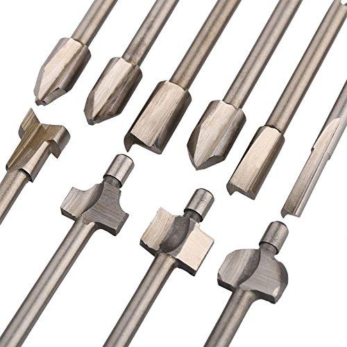 """Hrph 10PCS 1/8\"""" Mini Shank HSS Titanium Router Bits Fits Dremel Rotary Tool Set"""