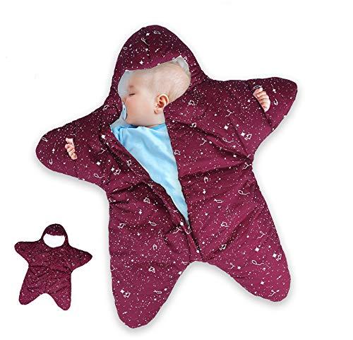 Dee Banna Baby Swaddle, Neugeborenen Stern Baby Boy Girl Bunting Winter Schlafsack warme Decke Swaddle für 0-12 Monate Baby(red)
