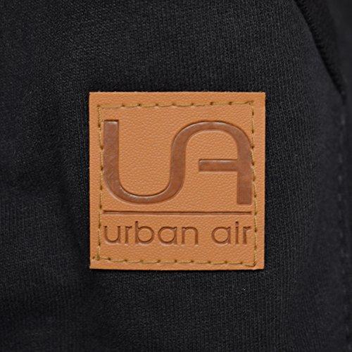 urban air | Relacs | Sweat à Capuche, Sweat-Shirt| Pull, Veste, Blouson | Pour Sport et Loisirs| En pur Coton | Retouche Similicuir | Pour Homme et Femme | Noir ou Gris | M, L, XL Noir