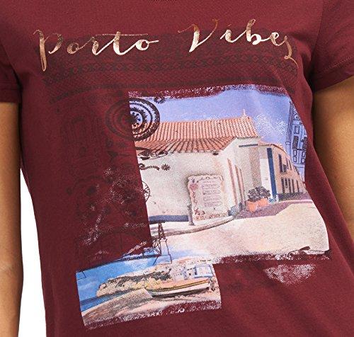 TOM TAILOR Damen T-Shirt Porto Vibes Shirt preppy plum