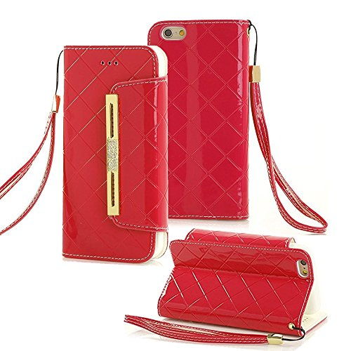 Tasche für iPhone 7, elecfan® PU Leder Schleife Style Strap Chain Metall Schäkel Eisenkette Series Bling Hülle Wallet Holster Schale für iPhone 7 (iPhone 7, Rot-A01) Womans Chain Wallet