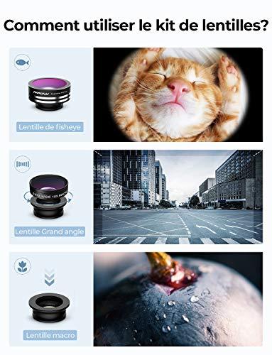 Mpow Universal 3 en 1 Kit de Lentille de caméra Objectifs professionnel fish-eye à 180° + 0.65X Objectif grand angle + 10X Objectif Micro pour iPhone 8/7/SE/6/6 Plus/5S/5C/4S