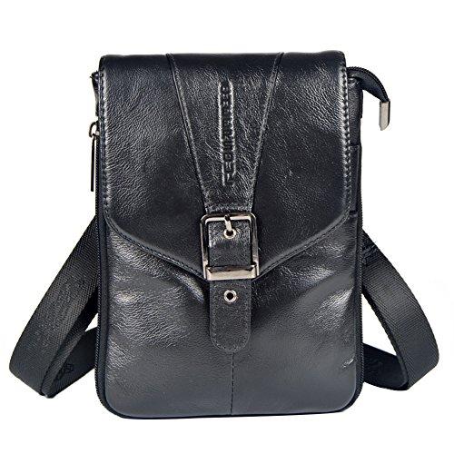 Genda 2Archer Männer Mini Schultertasche Leder Flapover Tasche Gürteltasche (Schwarz) Schwarz