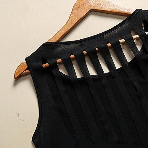 ShenLiNan - Pull sans manche - Col Rond - Sans Manche - Femme noir noir Noir