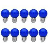10er E27 Farbig Glühlampen Lampe Birne Beleuchtung Glühbirne Bunt Dekoration Leuchtmittel Für Partybeleuchtung Biergartenbeleuchtung(Blau)