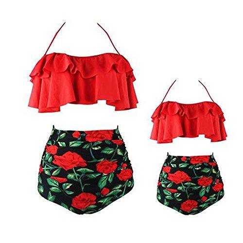 ShinyAmber Familie passende hohe Taille Badeanzug Mama und Mich botanische Drucke Halter Zwei Stück Bikini Badeanzug (Mutter-Rot, M)