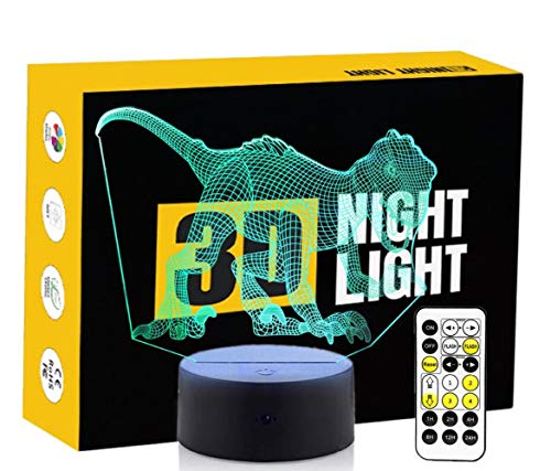 Leisurely Lazy Animal Dinosaur Shaped 3D Optical Illusion Lamp 7 Colors Change Touch Button and Timing Remote Control Children Kids Bedside Table LED Night Light -