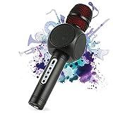 Micrófono Karaoke Bluetooth Fede con 2 Altavoces Incorporados, Microfono Inalámbrico Karaoke Portátil para Cantar, Función de Eco, Compatible con Android/iOS, PC o Teléfono Inteligente (Negro)