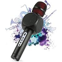 Microfono Karaoke Bluetooth Wireless Fede + Altoparlante Bluetooth con 2 Casse Incorporate, Karaoke Portatile per Cantare, Funzione Eco, Compatibile con Android/iOS, PC o smartphone (Nero)