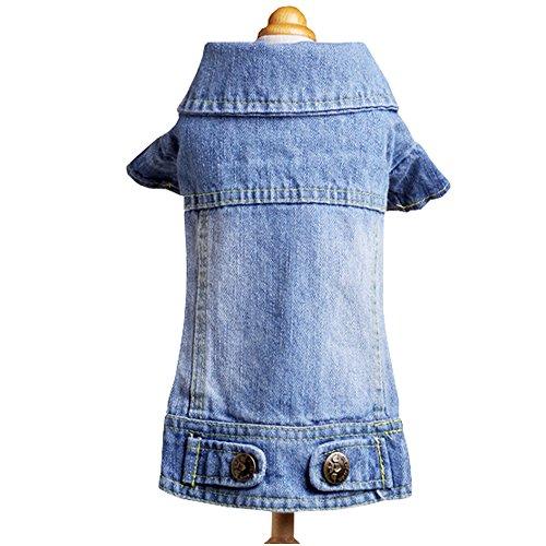 Sild Coole Vintage Washed Denim Jacke Jumpsuit Blau/bunten Jean Kleidung für kleine Haustiere Hund (Kostüme Cute Menschen Dog Für)