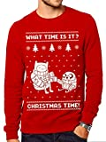 Adventure Time Christmas Time, Felpa Uomo, Rosso (Red), Large