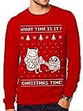 ADVENTURE TIME Christmas, Felpa Uomo, Rosso, Large