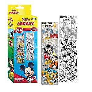 MICKEY MOUSE- Puzzle 2en1 24 Piezas, Colorear (562326), (Factory CR 1)
