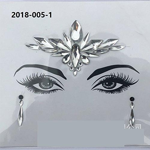 (Huihuger Gesicht Edelsteine für Mädchen, Kristalle, Glitzer, temporäre Tattoos für Gesicht und Stirn)