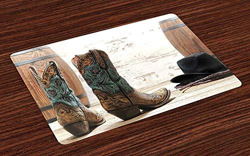 tz-Matten, amerikanisches Rodeo-Thema-Cowgirl-Entwurfs-Lederstiefel fantastischer Hut-rustikales Bild, waschbare Gewebetischsets für Esszimmer-Küchentisch-Dekoration , Satz von 6 ()