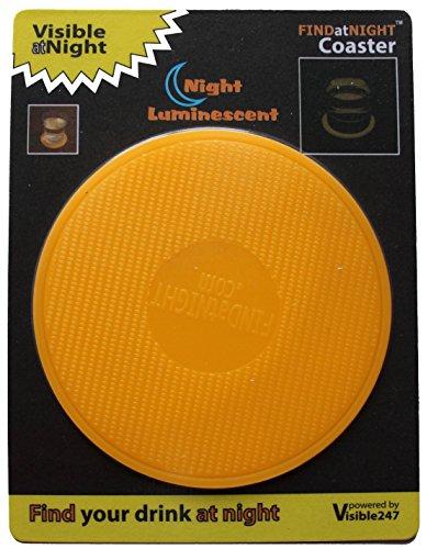 Findatnight lumineux Dessous de Verre, DE hautes performances Glow-in-the-Dark Dessous de Verre, 95mm de diamètre..., Orange, 9.5cm diameter