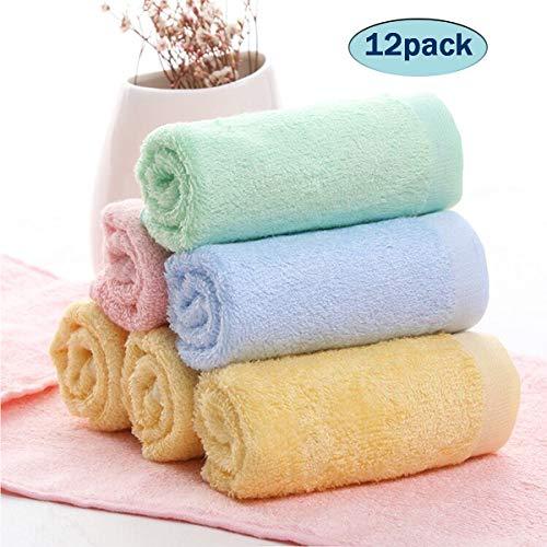 BB Hapeayou Débarbouillettes pour bébé, serviettes pour bébé en bambou bio pour nouveau-né/nourrisson / enfants/adultes - Ultra doux pour nouveau-né, 10 x 10 pouces (paquet de 12)