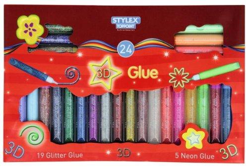 72 (3x 24) Tuben Glitter Glue & Neon Glue Stifte