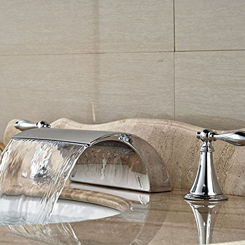 Dual Griff Wasserfall Badewanne Mischbatterie Set Deck Mount Badezimmer Badewanne Becken Waschbecken Wasserhahn Chrom-Finish von Mag.AL,C