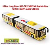 Toy-Station - Die CAST Metal Play Set - Perfect Toy Set For Kids (35 Cms Long Bus - Die-CAST Metal -with Lights & Sound -Yellow)