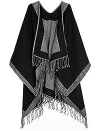 69b7d851c46d40 CHIC DIARY Winter Poncho Damen Überwurf Mantel Herbst Frühling Oversize  Schal Zweiseitig Cape mit Fransen Design