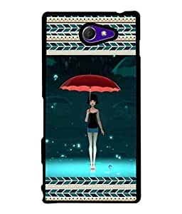 PrintVisa Designer Back Case Cover for Sony Xperia M2 Dual :: Sony Xperia M2 Dual D2302 (Lady Girl Modern Art Illustration Decoration Card Graphic)