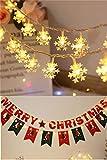 Stringa di luce a led,Albero di natale decorazione Luci a fiocco di neve stella all'aperto giardino matrimonio partito Luci natalizie Alimentato a batteria (colore caldo),3m20led