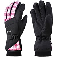 KINEED Guantes Esquí Impermeable Caliente Guantes Snowboard Ciclismo Nieve Invierno Térmico Thinsulate Mujer Rosa