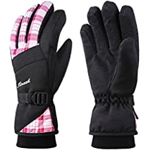 KINEED Mujer Guantes Impermeable Invierno Esquí Snowboard Ciclismo Térmica Cálido Thinsulate Rosa