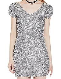 223b0f4590f0aa ZongSen Damen V-Ausschnitt Kurze-Ärmel Pailletten Cocktail Bodycon Mini  Kleid
