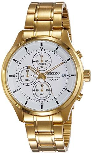 Seiko Herren-Uhren Analog Quarz One Size Edelstahl 87345238 (Seiko Gold Armbanduhr Chronograph)