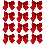 Tomtopp Pretty Bow Xmas Ornament Christmas Tree Decoration Festival Bowknots Red