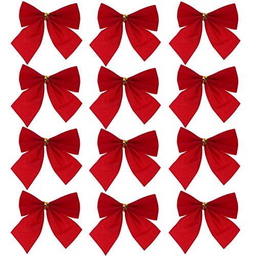 Demiawaking 12pcs Fiocchi di Festival della Decorazione per Albero di Natale Ciondolo Pendente per Albero di Natale Ornamento di Natale (Rosso)