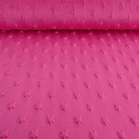 Minky picots en polaire motif étoiles rose tissu velours fourrure peluche