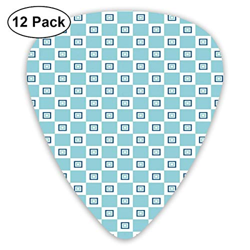 Celluloid Guitar Picks - 12 Pack,Abstract Art Colorful Designs,Continuous Nested Squares Design Pattern With Retro Influences,For Bass Electric & Acoustic Guitars.