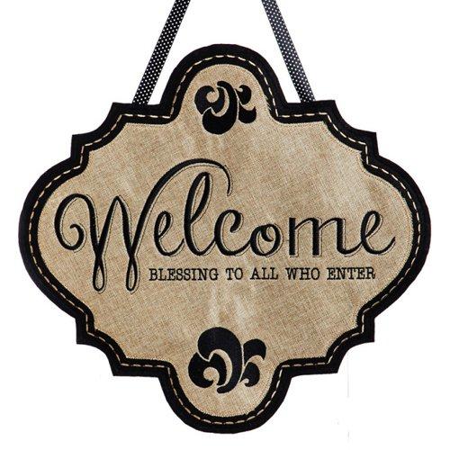 Evergreen Welcome Blessings Burlap Door Decor by Evergreen Flag & Garden