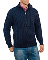 Wool Overs Pull irlandais homme à fermeture éclair en pure laine