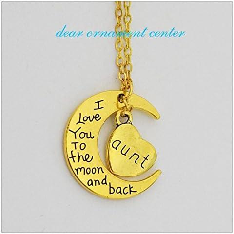 I Love You To The Moon and Back collana Kit, Luna e ciondolo a forma di cuore, catenina inclusa, regalo perfetto per zia, zia collana