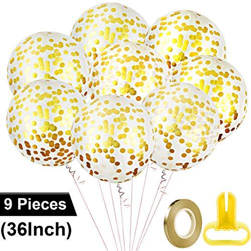 7 Stücke 36 Zoll Goldene Runde Jumbo Latex Konfetti Luftballons mit 1 Stück Goldenem Papier und 1 Stück Ballon Aufblas Werkzeug für Hochzeit Party Baby Dusche