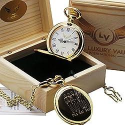 The Rat Pack Gold Pocket Watch Luxury 24 Carat Plated in Wooden Gift Case Frank Sinatra Dean Martin Sammy Davis Junior
